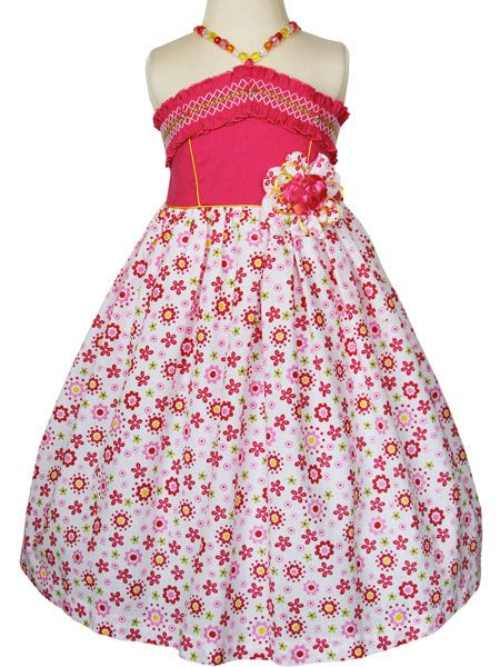 Beautiful Riley girls hot pink and white floral summer dress, plastic beads…