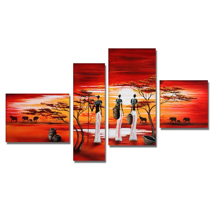 - Description - Why Accent Canvas? This exquisite African Woman View of the Land Canvas Wall Art Oil Painting is 100% hand-painted on canvas by one of our master artists. Each artists begins with a bl