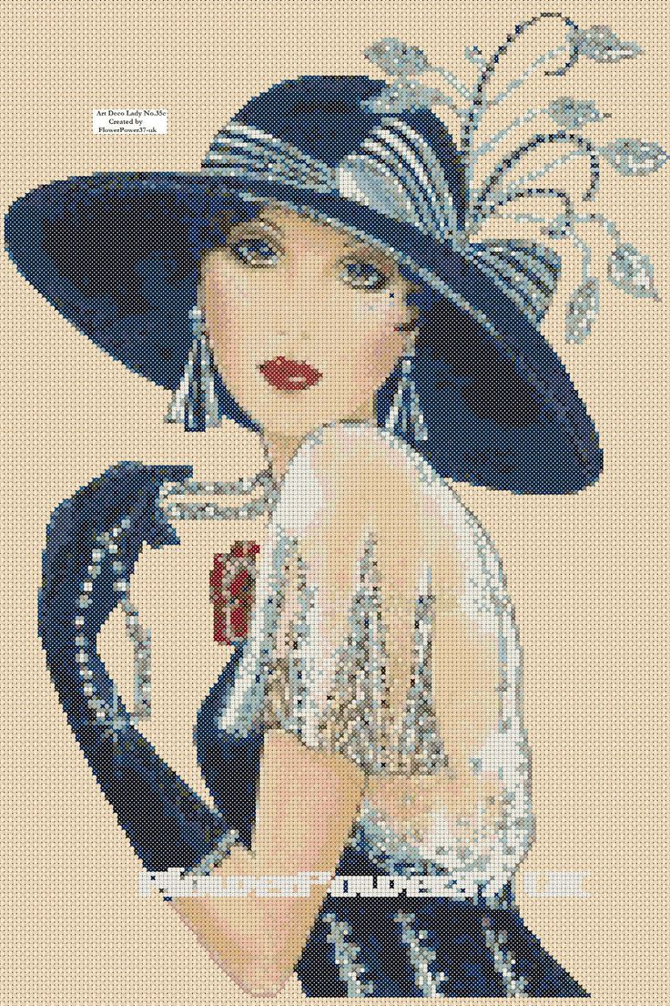 Cross stitch chart Art Deco Lady Flapper -No.35 FlowerPower37-uk FREE UK P&P | eBay