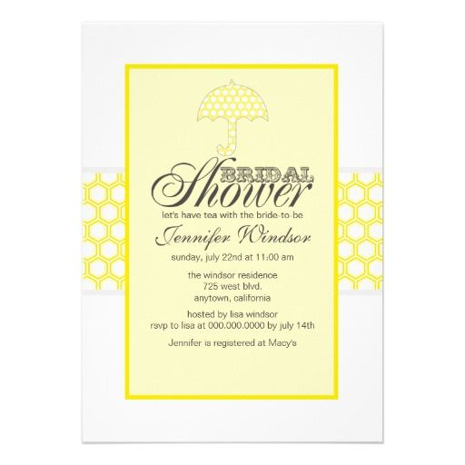 bridal shower invitations canary yellow and gray
