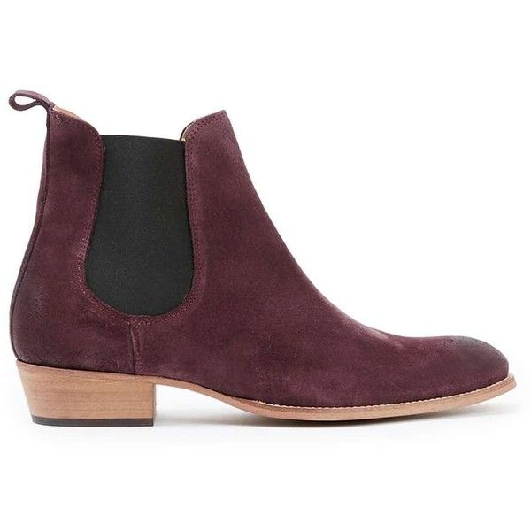 TOPMAN Burgundy Suede Chelsea Boots ($97) ❤ liked on Polyvore featuring men's fashion, men's shoes, men's boots, red, mens red shoes, topman mens shoes, mens cuban heel shoes, mens cuban heel boots and mens burgundy boots