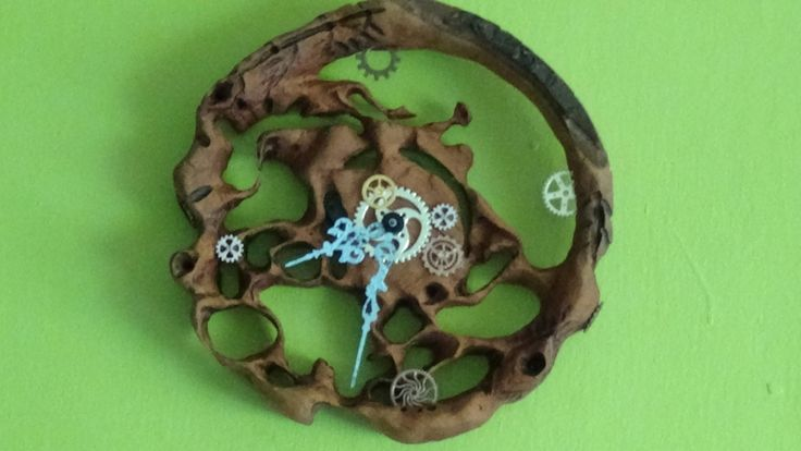 "Rare, collectible,9,5"",hand-carved,cherry, WALL CLOCK with incorporate cogs, blue, black or gold hands, gift for him, gift for her by TheArtWorkShop37 on Etsy"