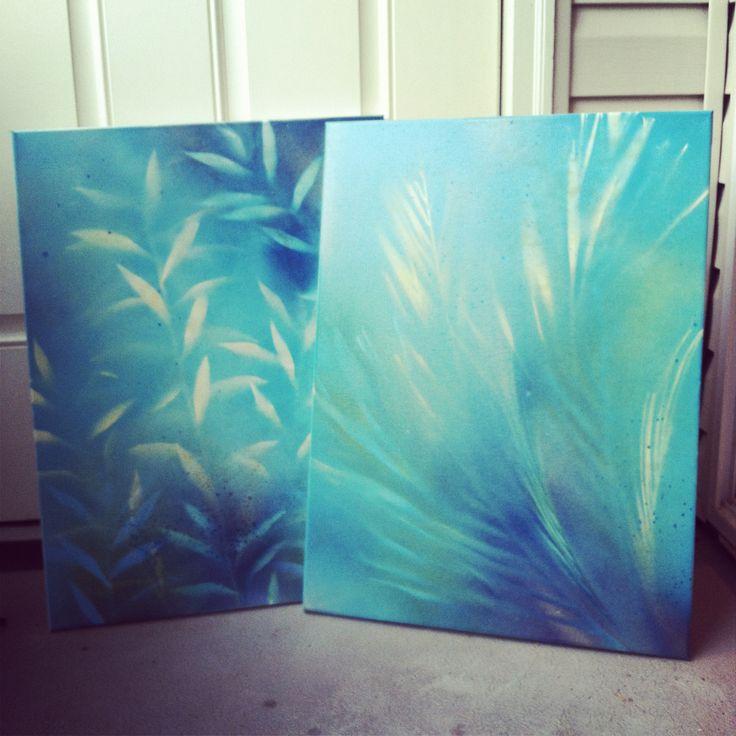 DIY wall art- ingredients: blank canvas, spray paint, found leaves.