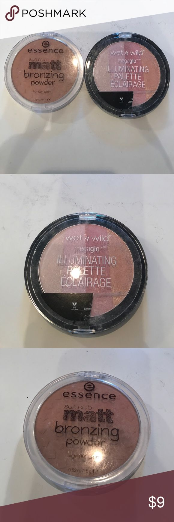 Bronzer and highlight duo #essence #sunclub #mattbronzer in lighter skin and #wetnwild #megaglo illuminating palette in #catwalkpink both are only tried once and in perfect condition!! you can't beat this deal! #makeup #sephora #ulta #jaclynhill #mac #lipstick #blush #fentybeauty #nailpolish #nyc #manhattan #hamptons #glam #beauty #fashion #nyfw wet n wild Makeup Luminizer