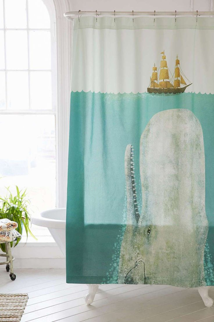 Diy painted shower curtain - Whale Shower Curtain