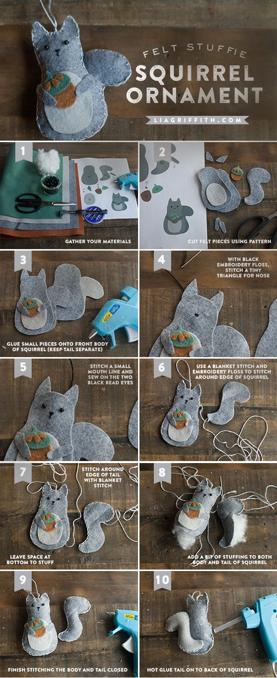 Make A Felt Squirrel Gift Topper or Ornament | Lia Griffith