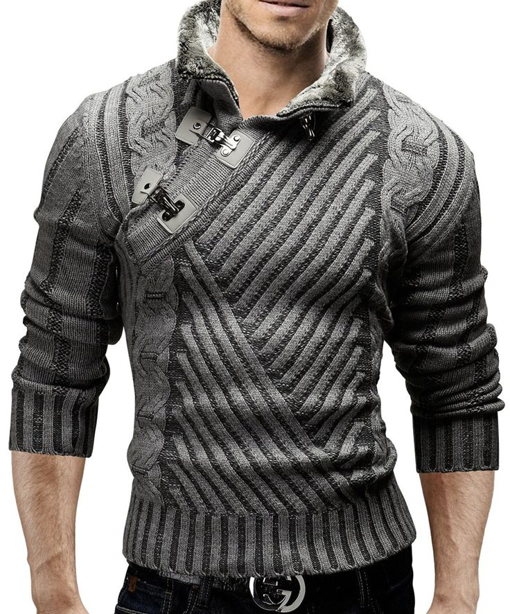 Merish Strickpullover Pullover Fellkragen Strickjacke Hoodie Slim Fit Herren 548: Amazon.de: Bekleidung