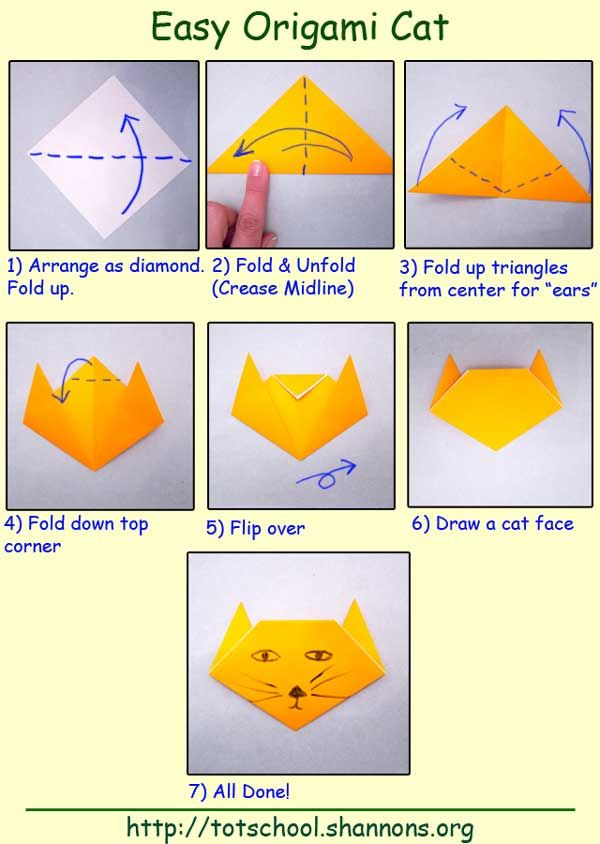 Easy Origami Cat (Shannon's Tot School)