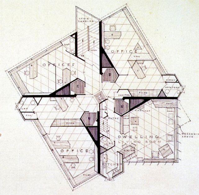 F.L. WRIGHT, Price Tower, plan