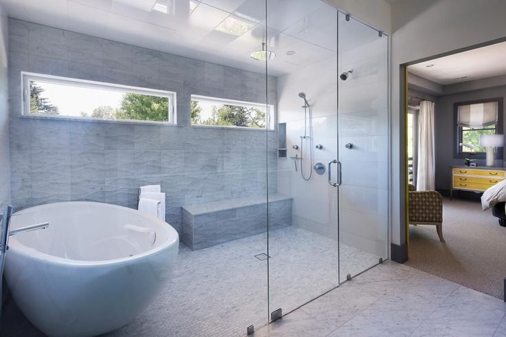 WET ROOM Ease of Use - Many are tearing out built-in bathtubs to create a combination bathtub/shower Wet Room. Ease of accessibility or being ADA-compliant can increase a home's resale value because you're offering more potential buyers more options, plus the design aesthetic can look really cool -- 10 Best Bathroom Remodeling Trends