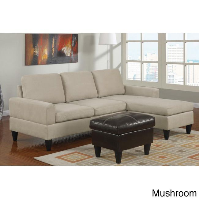 Poundex Hesse Reversible Sectional Sofa In Microfiber Finish With Ottoman