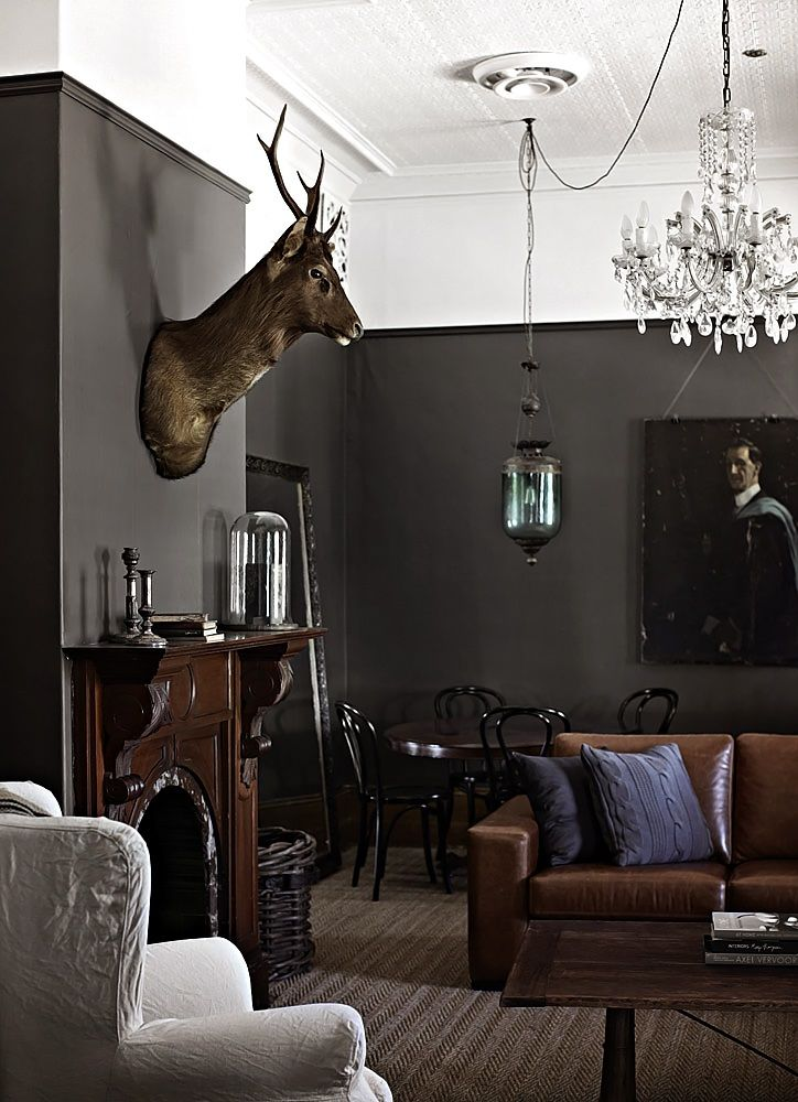 Charcoal Walls And Tan Leather Sofa