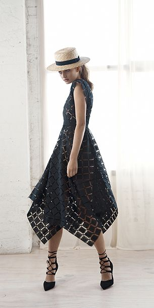 Spring 2015, Thurley. The perfect black summer dress, heels, and perfect hat. Love this Aussie label.