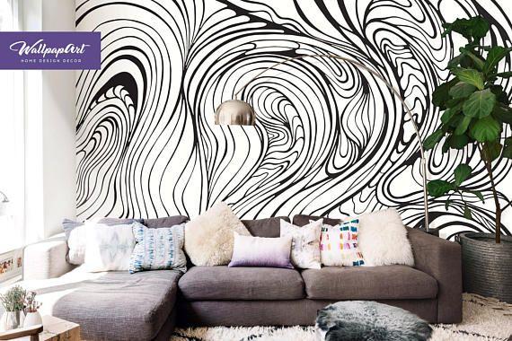 Abstract Art Removable Wallpaper Abstract Wall Mural Peel Etsy Adhesive Wall Art World Map Wall Art Map Wall Art