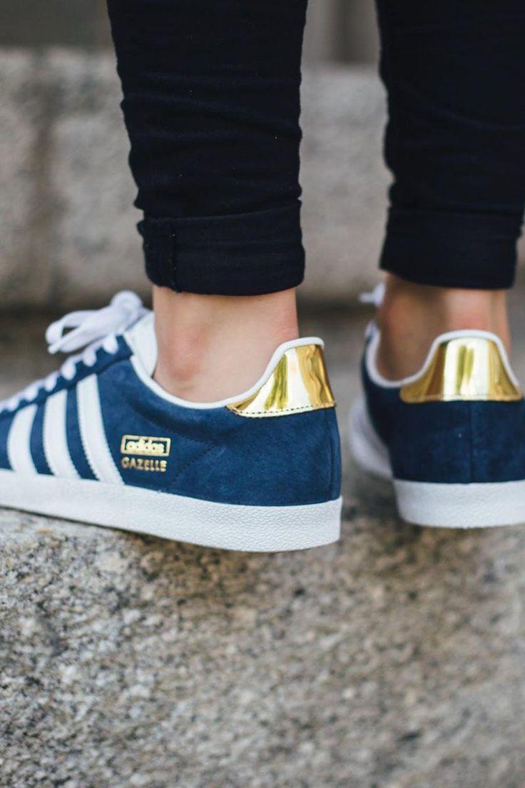 adidas gazelle femme bleu et or