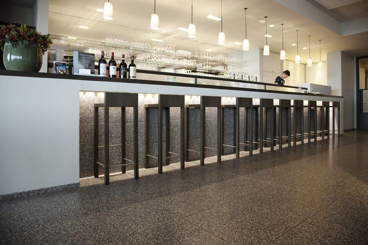 Bar featuring beautiful black terrazzo available at Signorino Tile Gallery