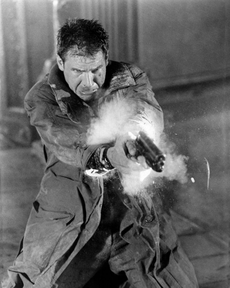 Hell of an action shot of Harrison Ford as Rick Deckard in #BladeRunner (1982).                                                                                                                                                                                 More