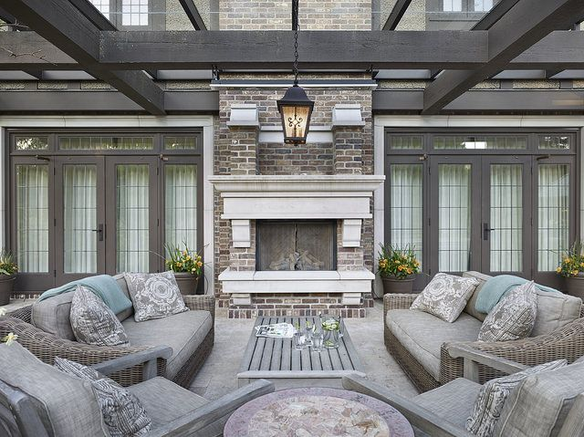 Indiana Limestone Fireplace Hearth & Mantel - Carved Door Tims