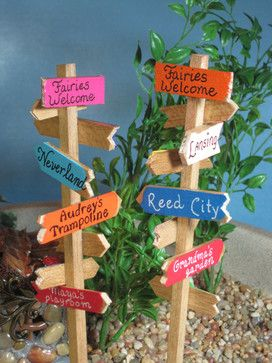 Signpost for Fairy Gardens by Wee Brigadoon contemporary-outdoor-decor