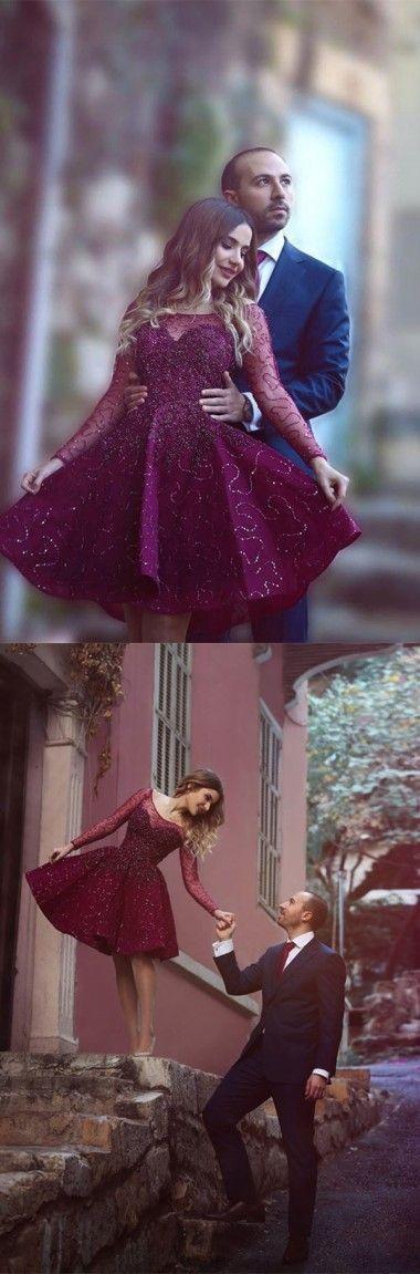 burgundy homecoming dress,burgundy beading homecoming dress, long sleeves homecoming dress,scoop homecoming dress