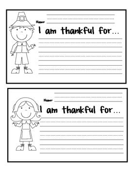 "➢ Included are ""I am thankful for"" writing templates with the following"