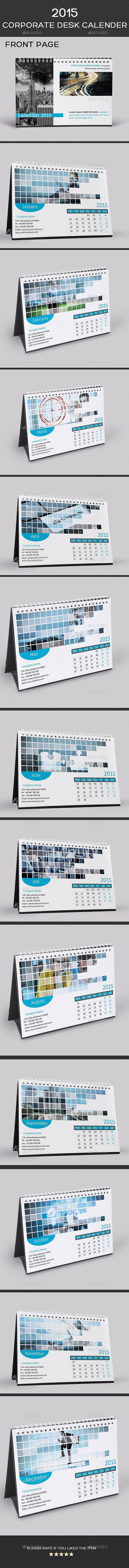 2015 Corporate Desk Calendar Template ( PSD )