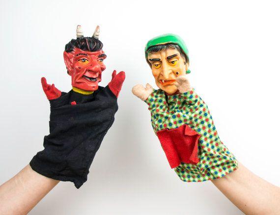 Vintage hand puppets - retro handdolls 📌Witch Glove puppet. Hexe, heks theatre poppenkastpoppen heads 2 Handpoppen Marionnetta à gaine Pacynka handdolls