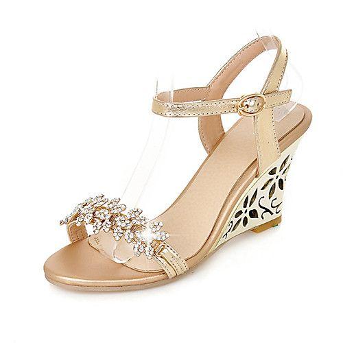 mujer sandalias con cuña pu primavera / verano zapatos del club