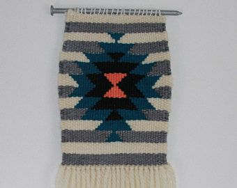 Nailed It: Hand Woven Wall Hanging, Woven Tapestry, Industrial Weaving, Geometric Weaving