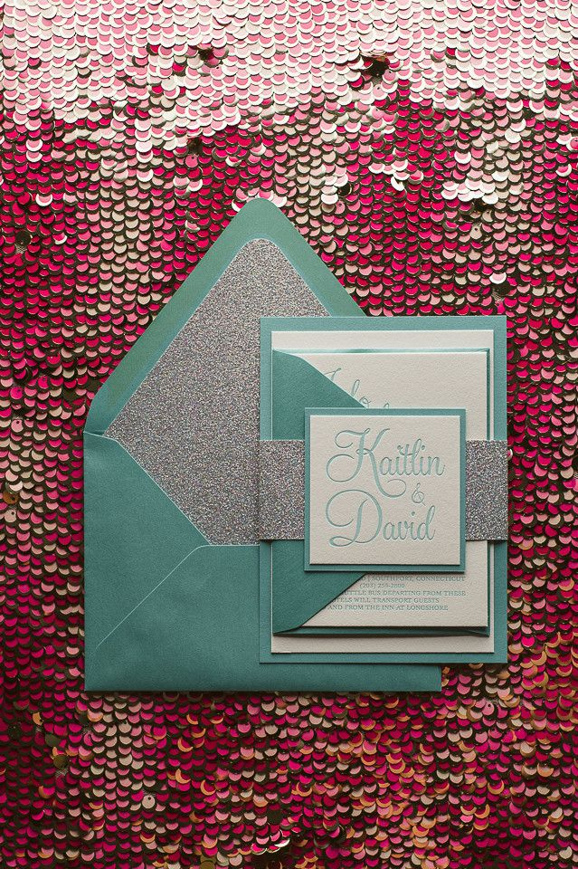 BAILEY Suite Fancy Glitter Package, Tiffany and Co wedding theme, tiffany and silver, aqua and silver, tiffany wedding invitations, letterpress wedding invitations, glitter wedding invitations