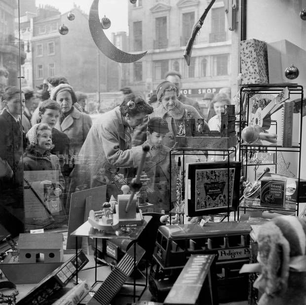 What, no Nintendo? The shop window of Hamleys in 1957. Among the toys on of - London Evening Standard