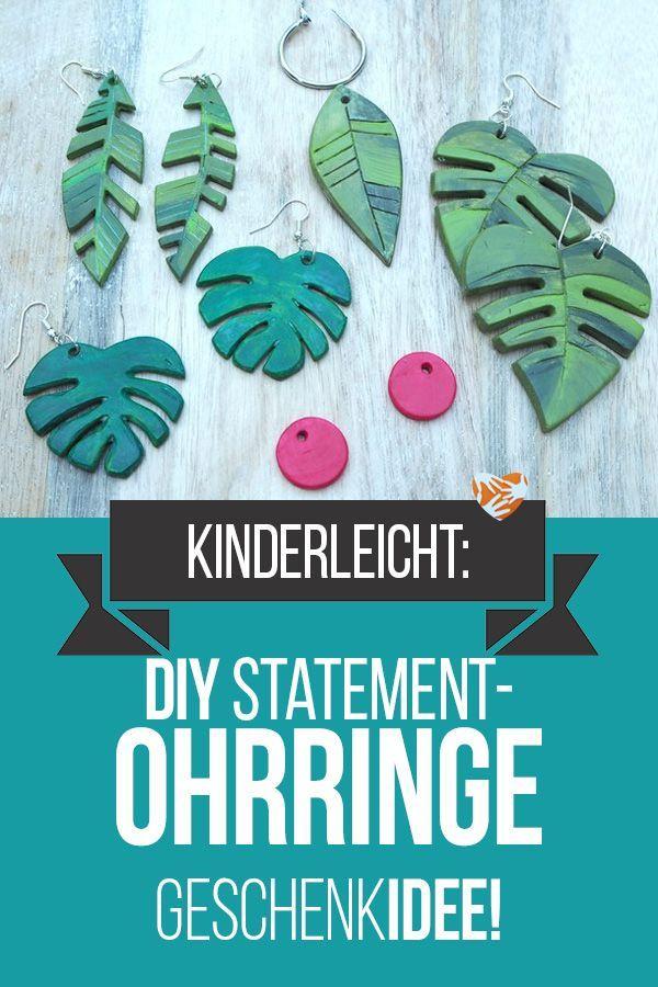 Elegant Basteln Mit Kindern: Tropische DIY Statement Ohrringe U2013 Geprickelt Und  Gewalzt #geschenkidee #