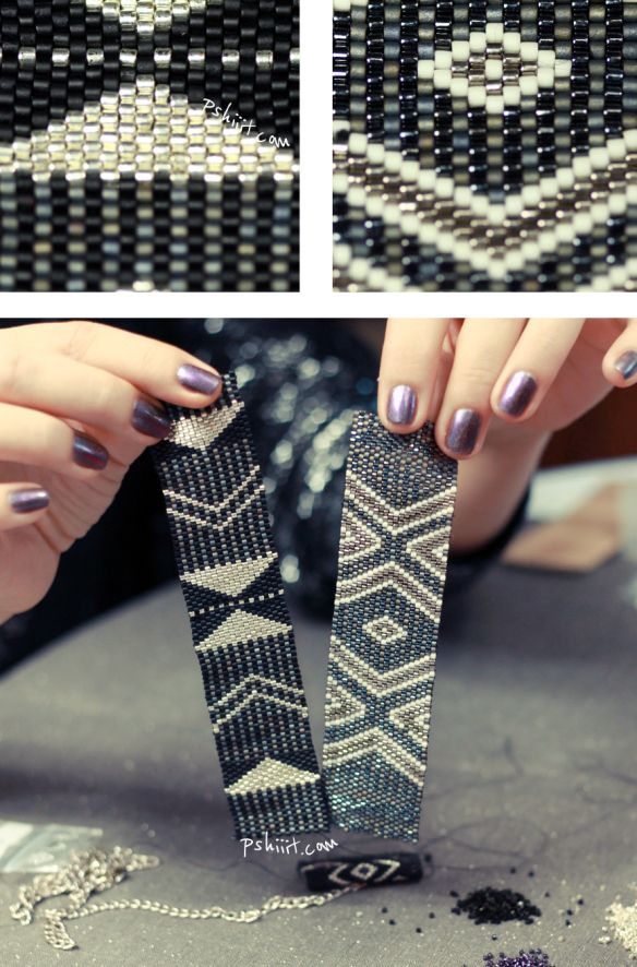 How to make this patterned peyote bracelet.  Detailed tute in French.  #Seed #Bead #Tutorials