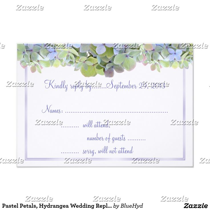 Pastel Petals, Hydrangea Wedding Reply Card