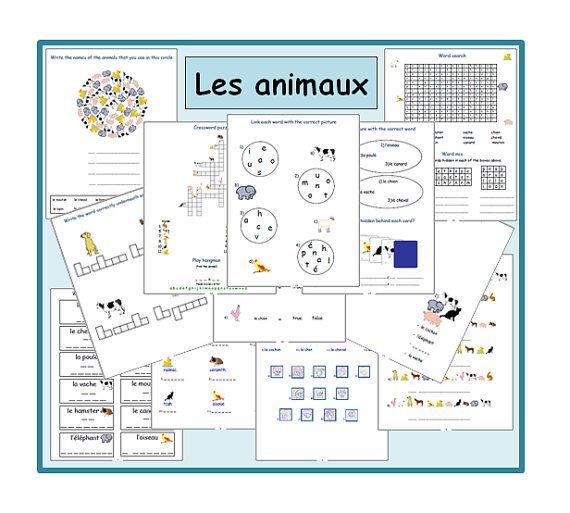 ANIMAL FRENCH WORKSHEETS-French Teacher's by YippeeLearning