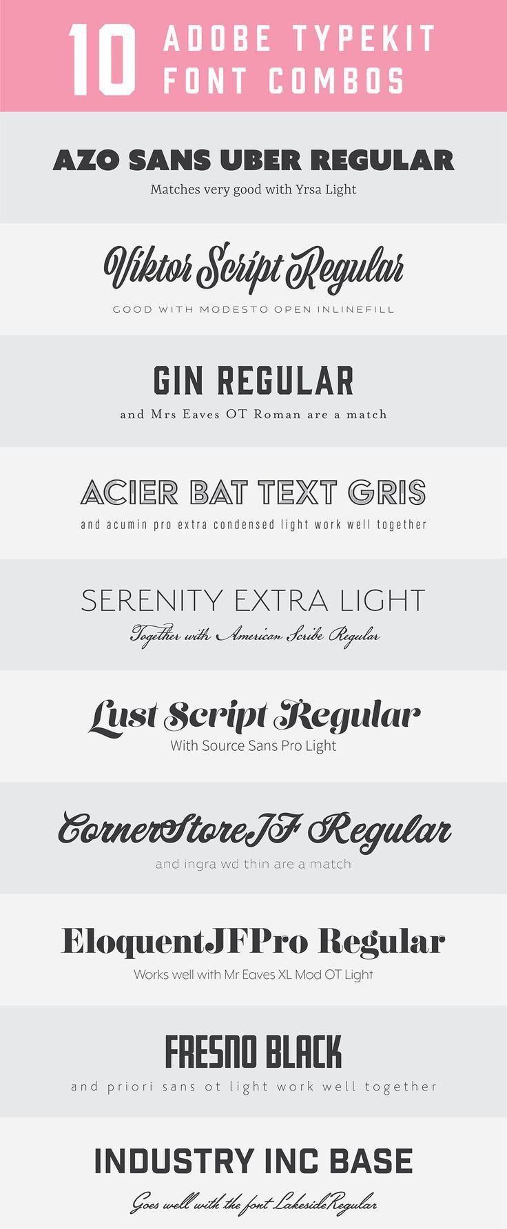 10 Adobe typekit font combos