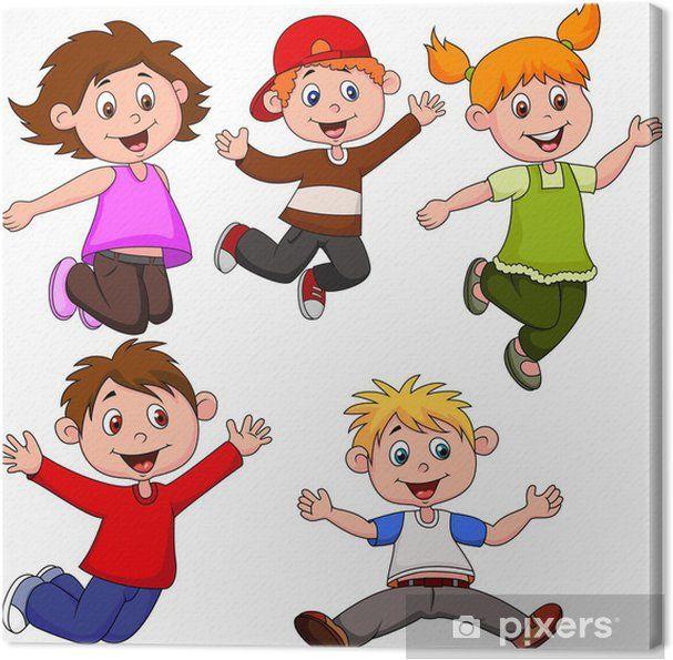 Cuadro En Lienzo Ninos Felices De Dibujos Animados Pixers Vivimos Para Cambiar Dibujos Para Ninos Ninos Felices Ninos Alegres