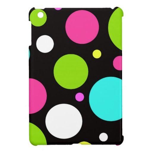 Colorful Fun Big Polka Dots on Black iPad Mini Case