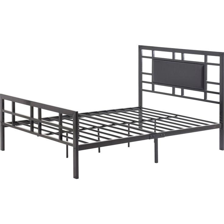 full size modern classic metal platform bed frame with black upholstered headboard