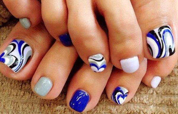 Diseños para uñas de los pies, diseño para uñas delos pies azul.  Unete al CLUB…