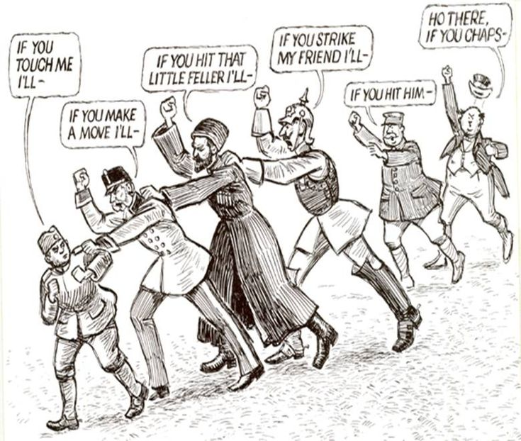 This political cartoon depicts one of the four main causes of WWI as it represents the alliances and how they caused what would have been a small and quick war into one of the worst wars in all of history.