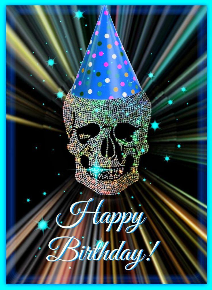 Открытка с днем рождения череп, днем народження