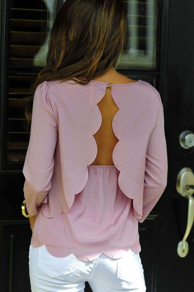 Romantic feminine style. Lavender blouse with open back. Best Fall Collection 2014