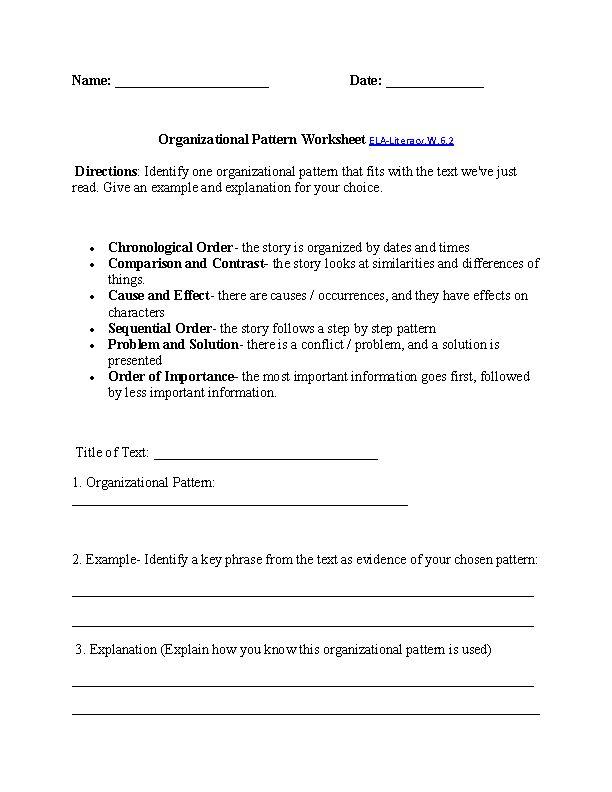 organizational patterns worksheet ela literacy w 6 2 writing worksheet board. Black Bedroom Furniture Sets. Home Design Ideas