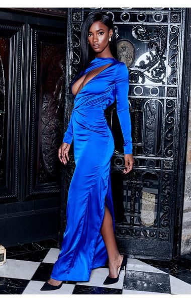 ab8752bd01f Clothing   Max Dresses   Salome  Electric Blue Satin Open Front Maxi Dress