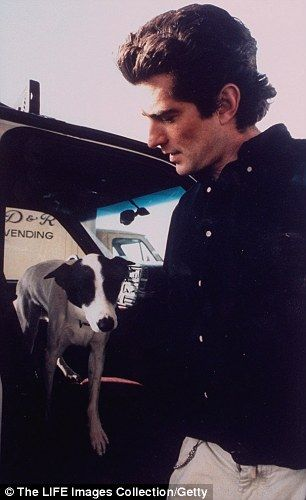 John Kennedy Jr  | John F. Kennedy, Jr. w. his dog Friday getting out of a car at Big Sky ...