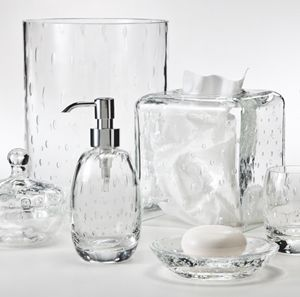 glass bathroom accessories. Bubbles Suspended Within Clear Glass Add A Touch Of Whimsy To This Design. The Appear Randomly As Is Blown, Making Each Piece Unique. Bathroom Accessories O
