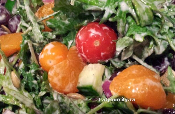 Easy peasy kale salad with yogurt based dressing.  Its a riff on the fav broccoli salads and its a healthy powerhouse!
