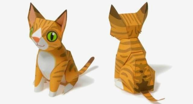 Little Streaked Cat Paper Toy - by Maruman - Gato Listrado   ===           A little decorative cat paper toy, by Japanese website Maruman.