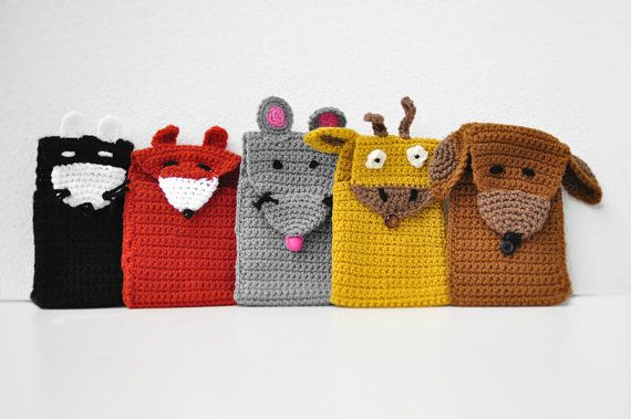 CHOOSE YOUR favorite ANIMAL cell phone cozy crochet case, mobile phone wool cover, cute gift, ready to ship